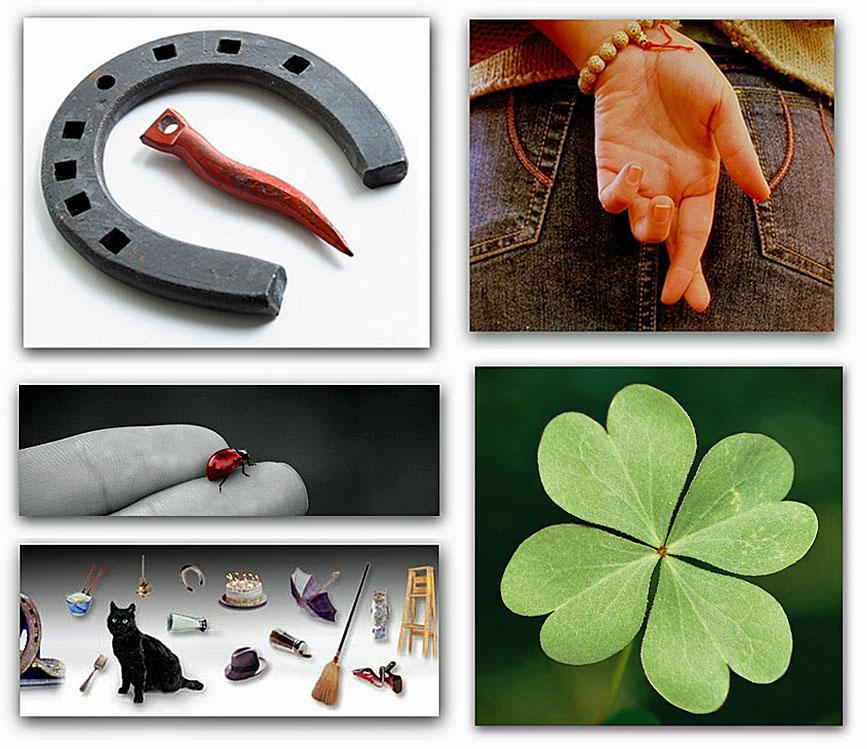 Alcuni simboli: un ferro da cavallo un peperoncino, una coccinella, incrociare le dita, un quadrifoglio, un gatto nero...