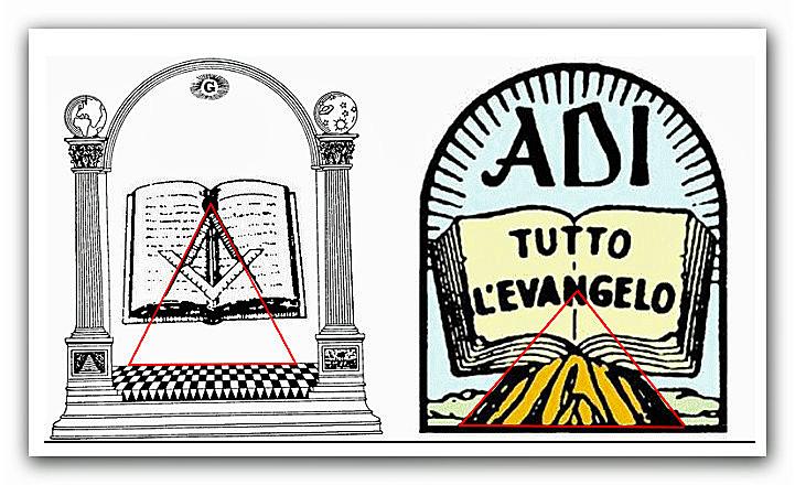 ● Il logo delle Assemblee di Dio in Italia (ADI) contiene elementi massonici, essendo il suo autore il MASSONE Paolo Paschetto