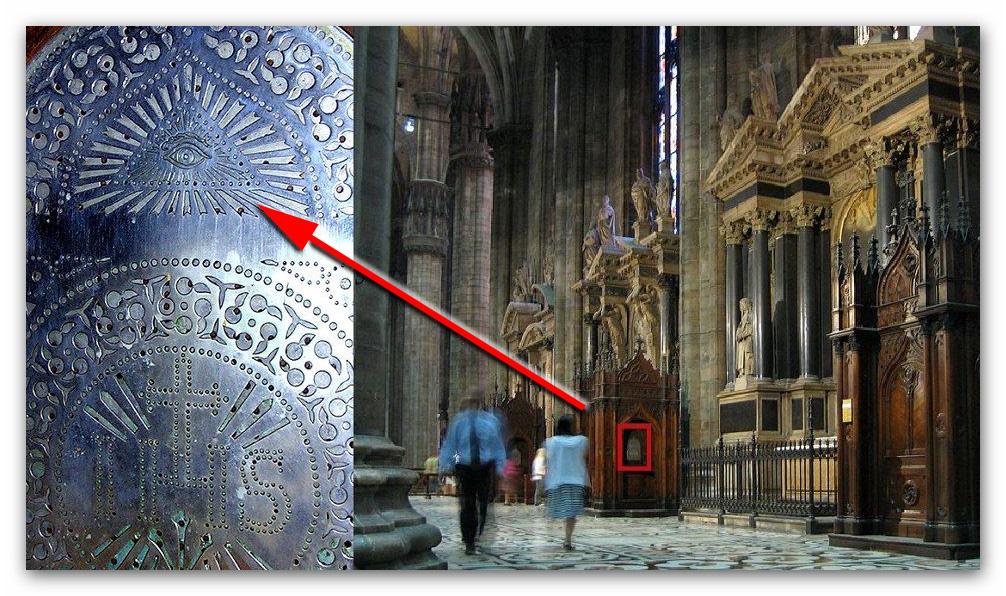 occhi onniveggenti posizionati sui confessionali del duomo di milano
