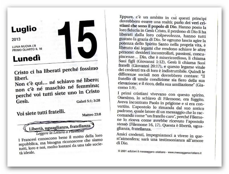 Molto ○ I principi massonici pure sul calendario evangelico SP02