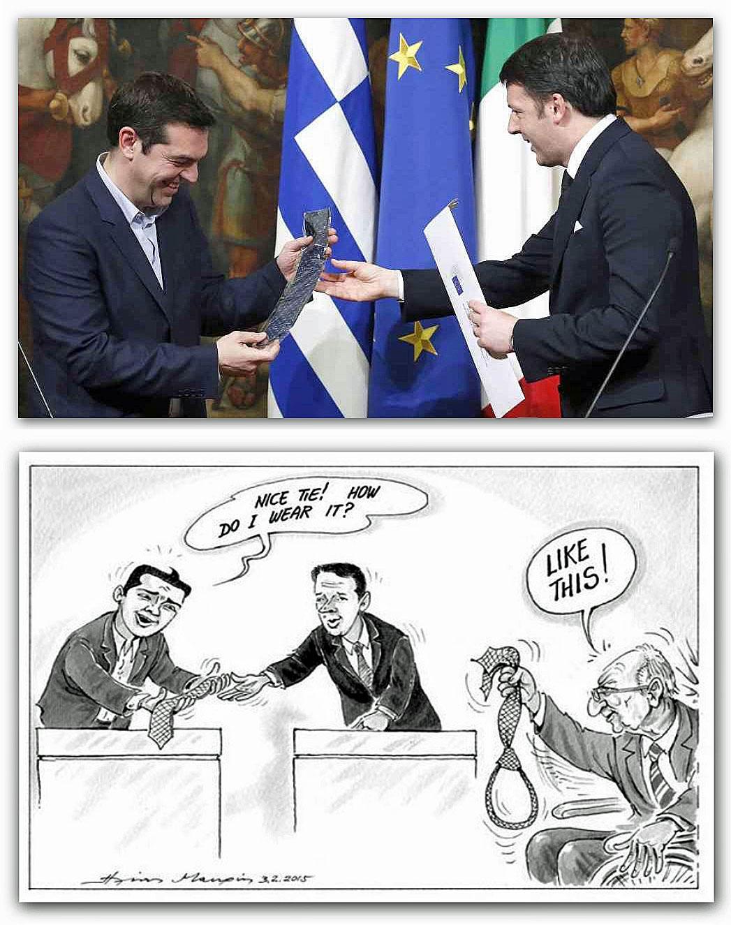 Immagini tratte da: http://www.agi.it/politica/notizie/grecia_renzi_dona_cravatta_tsipras_indossala_a_crisi_finita-201502031922-pol-rt10244 e da: http://www.nextquotidiano.it/vignetta-tsipras-renzi-cravatta/