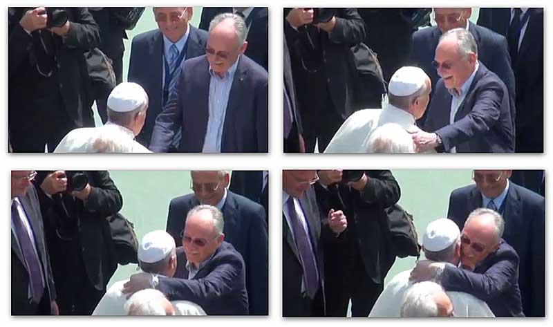 """● Il """"fraterno"""" abbraccio ecumenico dei pastori della Chiesa Evangelica della Riconciliazione a Francesco"""